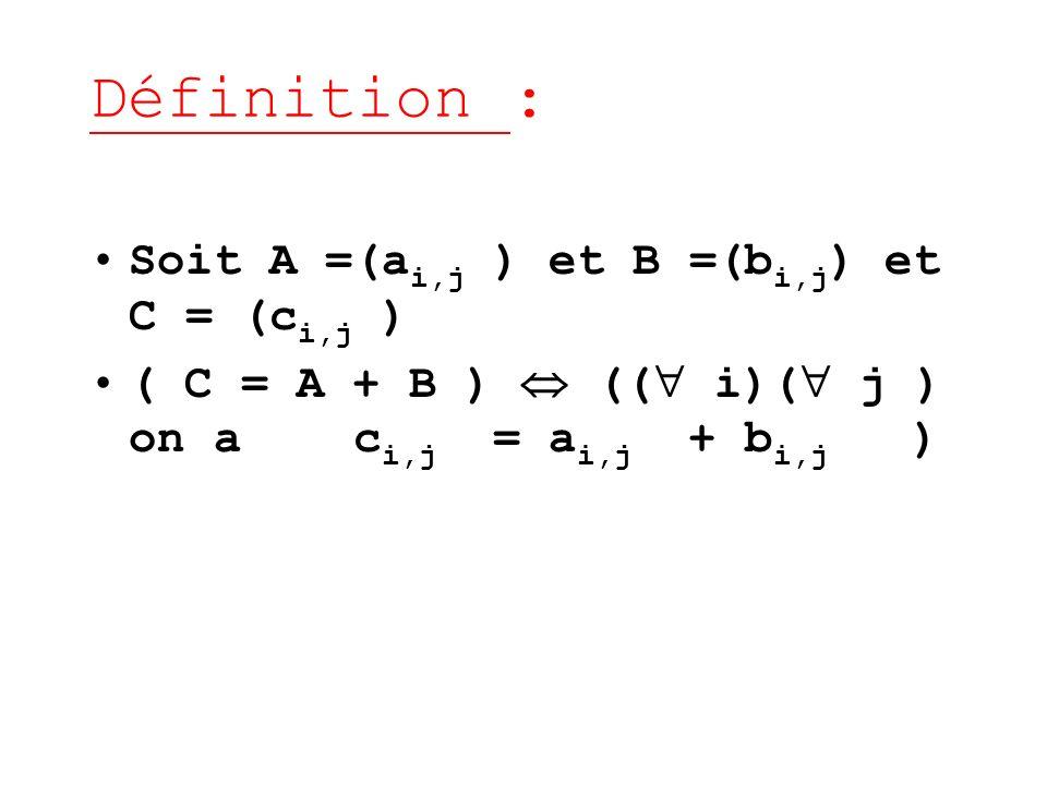 Définition : Soit A =(a i,j ) et B =(b i,j ) et C = (c i,j ) ( C = A + B ) (( i)( j ) on a c i,j = a i,j + b i,j )