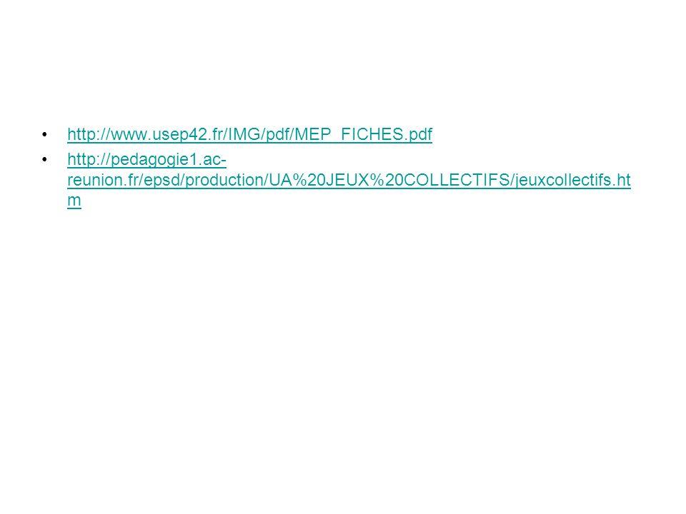 http://www.usep42.fr/IMG/pdf/MEP_FICHES.pdf http://pedagogie1.ac- reunion.fr/epsd/production/UA%20JEUX%20COLLECTIFS/jeuxcollectifs.ht mhttp://pedagogie1.ac- reunion.fr/epsd/production/UA%20JEUX%20COLLECTIFS/jeuxcollectifs.ht m
