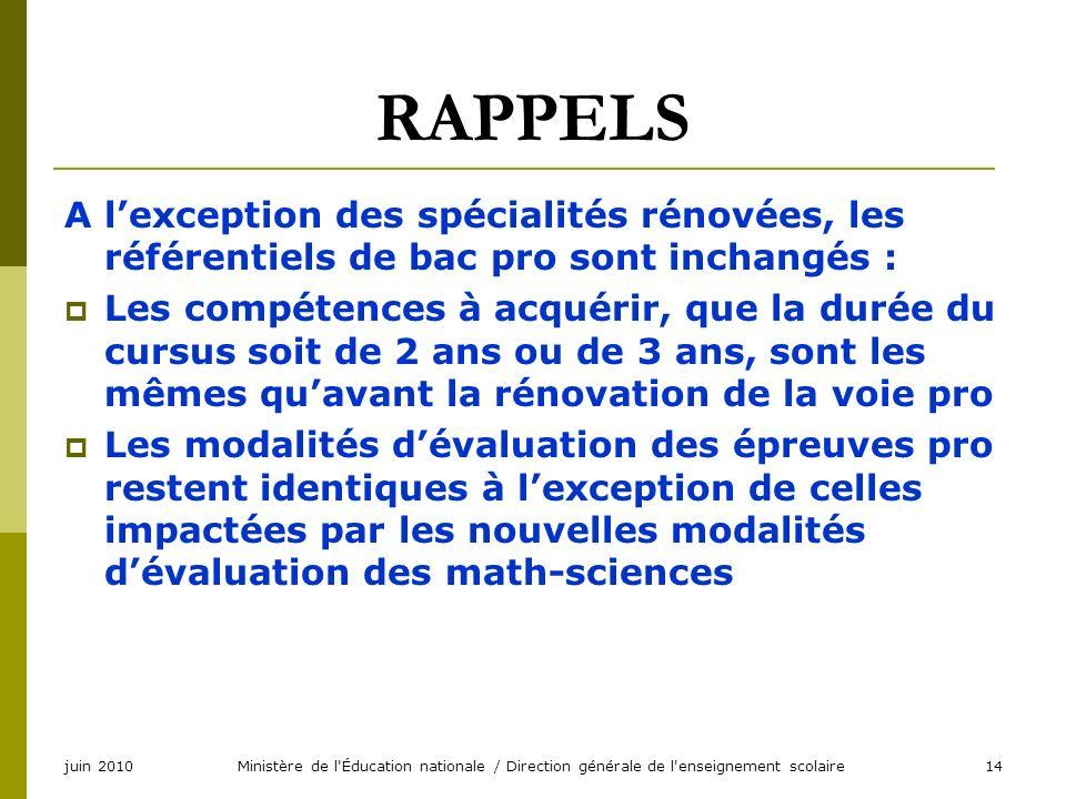 juin 2010Ministère de l'Éducation nationale / Direction générale de l'enseignement scolaire14 RAPPELS A lexception des spécialités rénovées, les référ