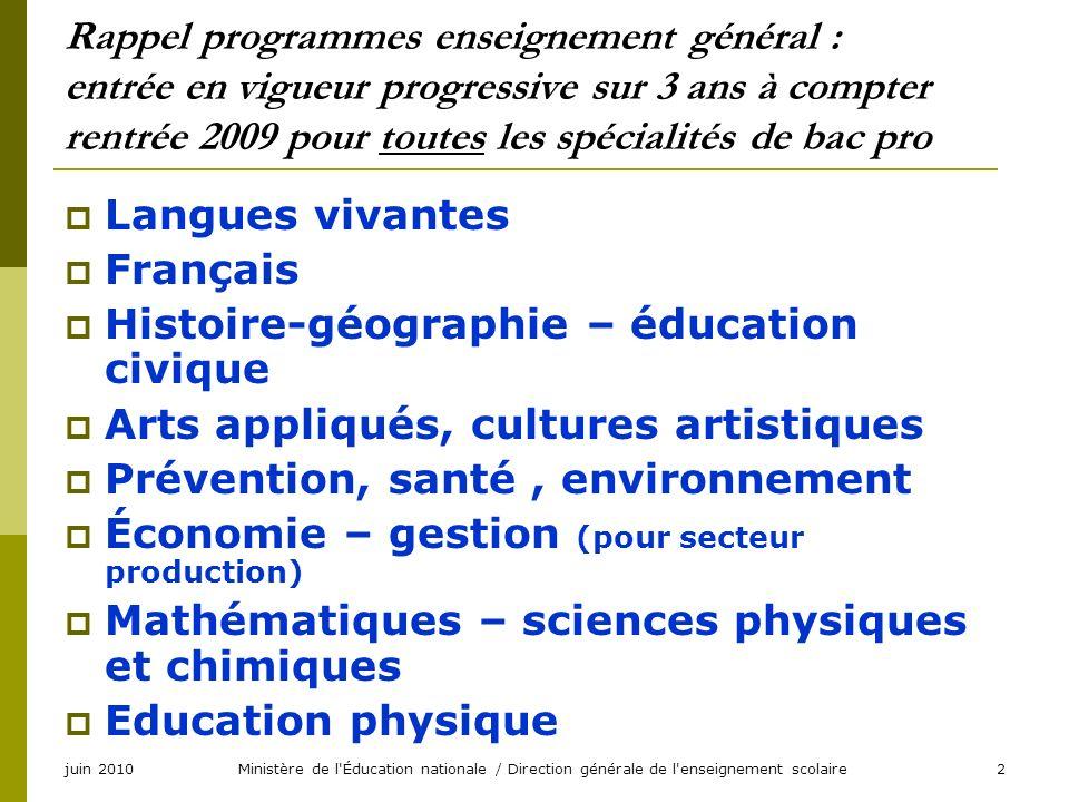 Ministère de l'Éducation nationale / Direction générale de l'enseignement scolaire2 Rappel programmes enseignement général : entrée en vigueur progres