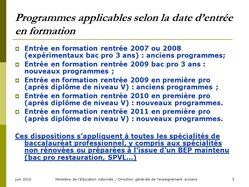 juin 2010Ministère de l'Éducation nationale / Direction générale de l'enseignement scolaire3 Programmes applicables selon la date dentrée en formation