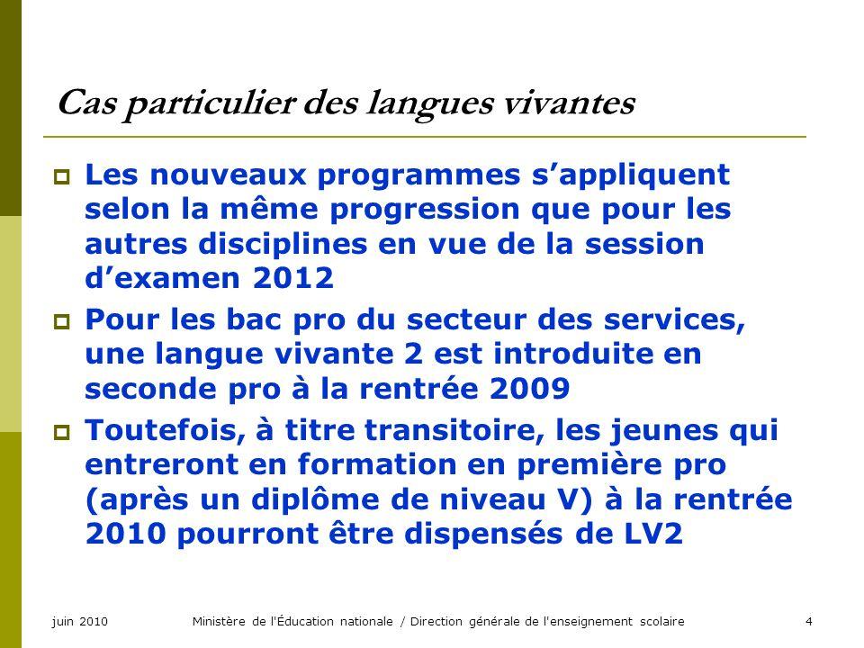 juin 2010Ministère de l'Éducation nationale / Direction générale de l'enseignement scolaire4 Cas particulier des langues vivantes Les nouveaux program