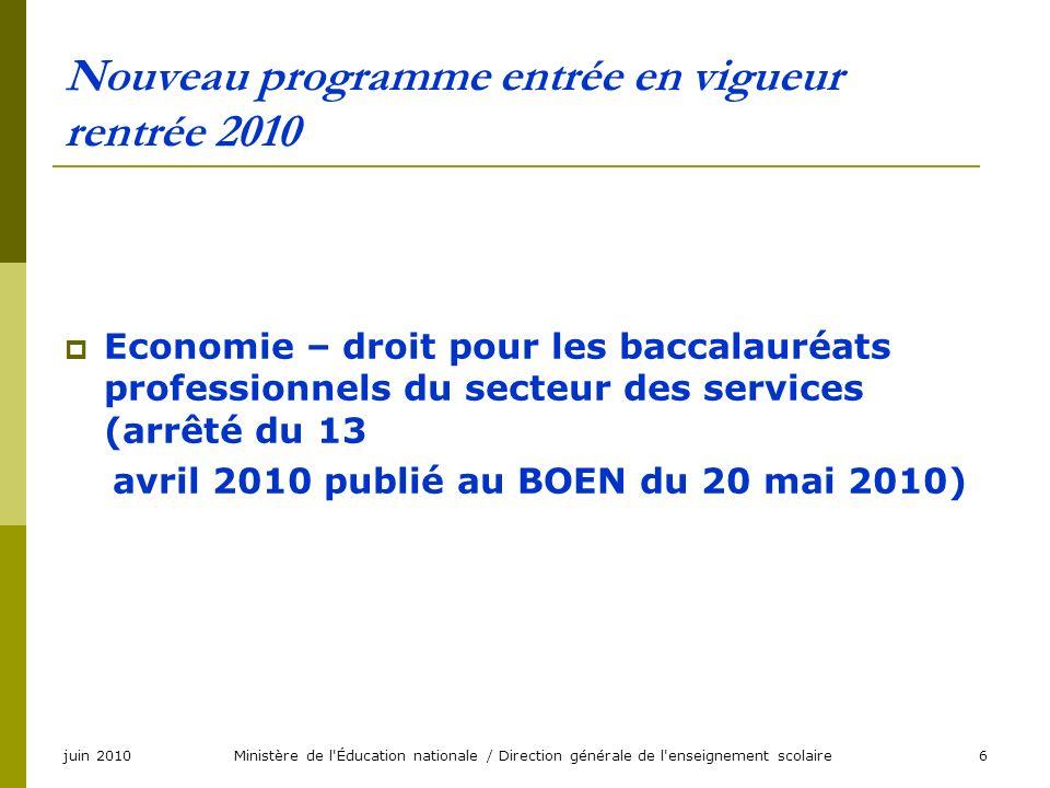 juin 2010Ministère de l'Éducation nationale / Direction générale de l'enseignement scolaire6 Nouveau programme entrée en vigueur rentrée 2010 Economie