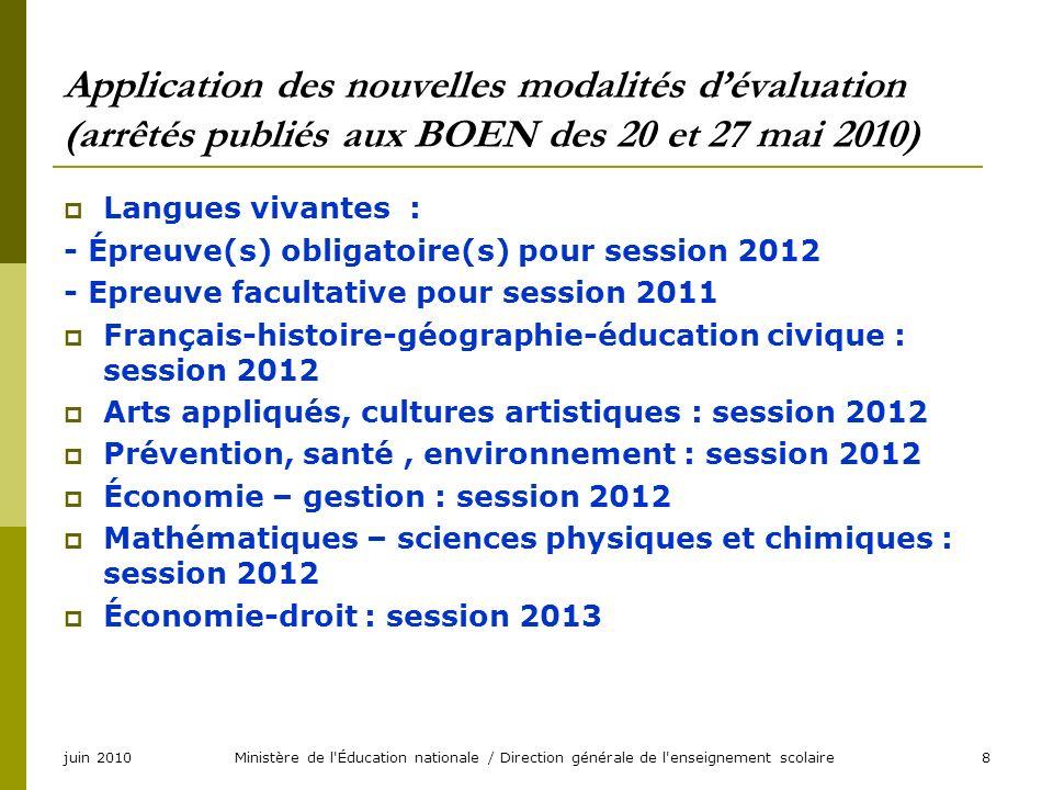 juin 2010Ministère de l'Éducation nationale / Direction générale de l'enseignement scolaire8 Application des nouvelles modalités dévaluation (arrêtés
