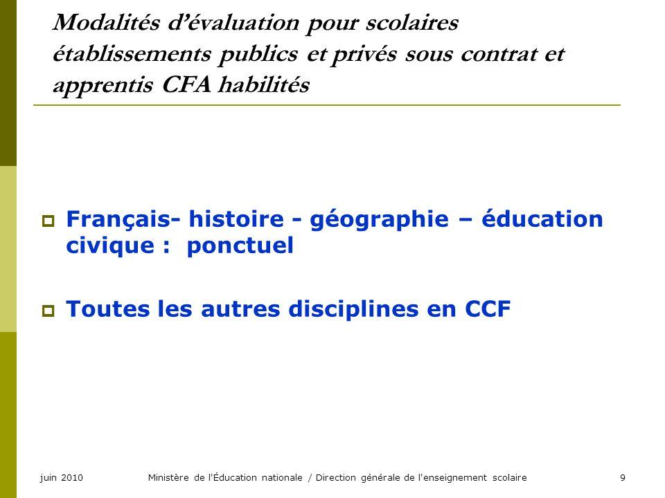 juin 2010Ministère de l'Éducation nationale / Direction générale de l'enseignement scolaire9 Modalités dévaluation pour scolaires établissements publi