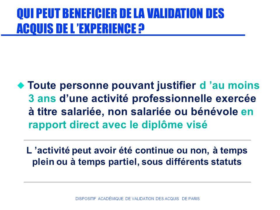 DISPOSITIF ACADÉMIQUE DE VALIDATION DES ACQUIS DE PARIS QUI PEUT BENEFICIER DE LA VALIDATION DES ACQUIS DE L EXPERIENCE ? Toute personne pouvant justi