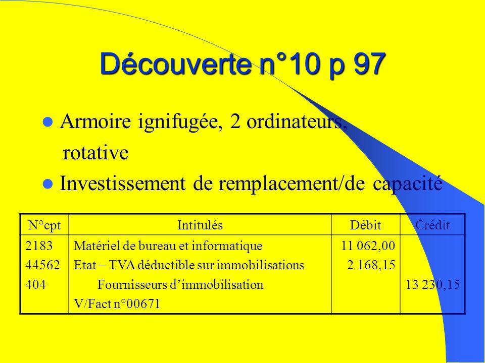 Découverte n°10 p 97 Armoire ignifugée, 2 ordinateurs, rotative Investissement de remplacement/de capacité N°cptIntitulésDébitCrédit 2183 44562 404 Ma