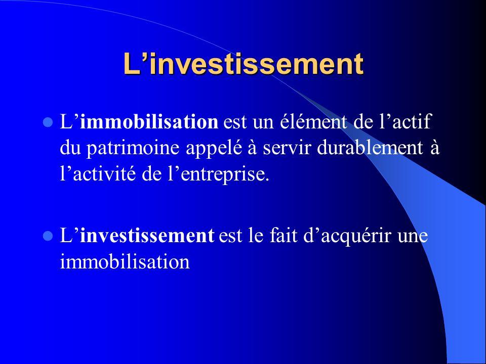 Linvestissement Limmobilisation est un élément de lactif du patrimoine appelé à servir durablement à lactivité de lentreprise. Linvestissement est le