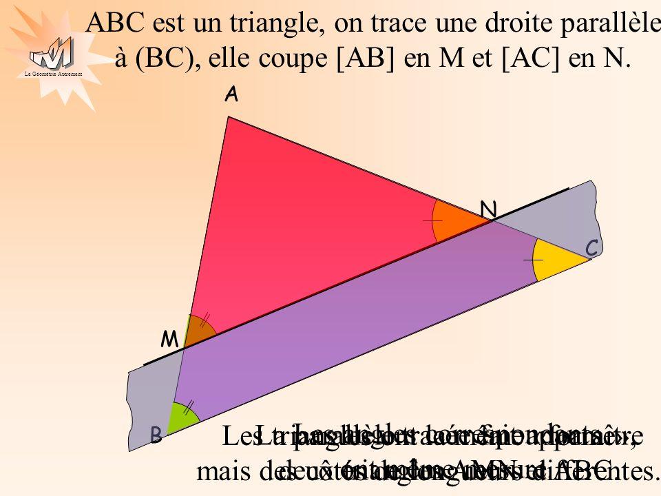 La Géométrie Autrement A B C ABC est un triangle, on trace une droite parallèle à (BC), elle coupe [AB] en M et [AC] en N. M N La parallèle tracée fai