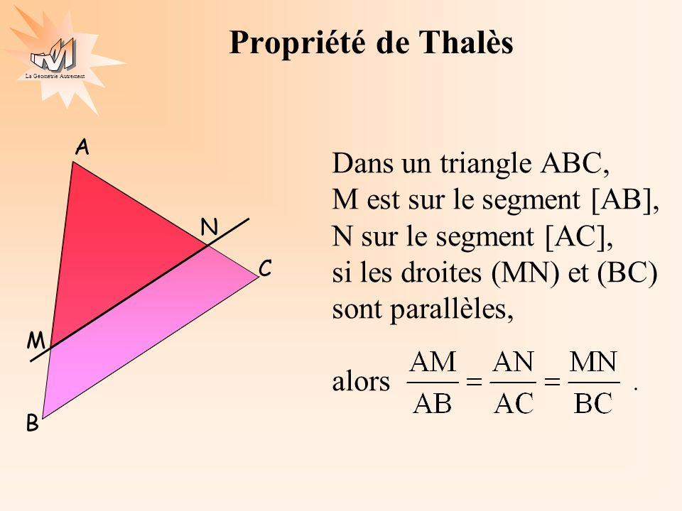 La Géométrie Autrement Propriété de Thalès Dans un triangle ABC, M est sur le segment [AB], N sur le segment [AC], si les droites (MN) et (BC) sont pa