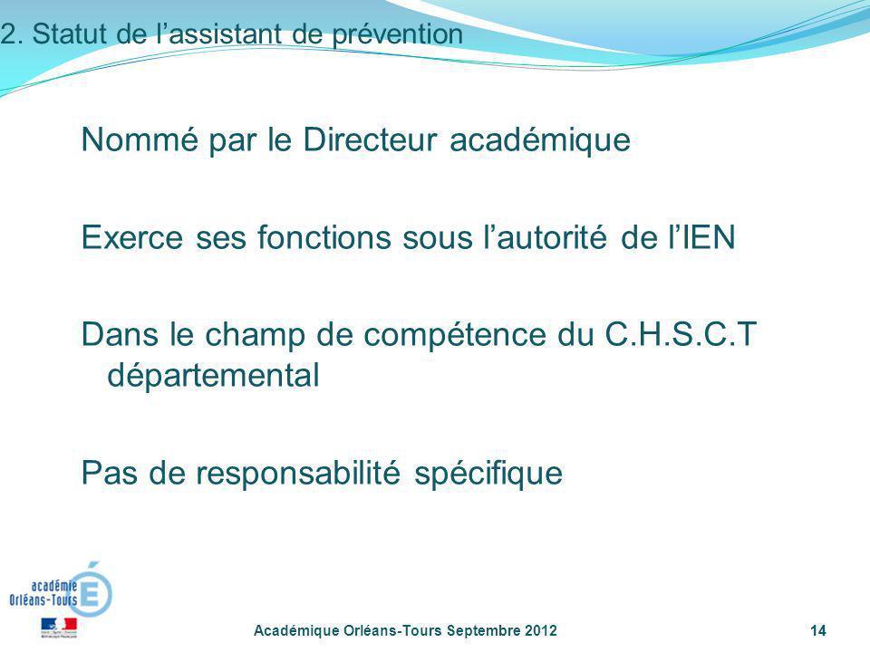 14 Académique Orléans-Tours Septembre 201214 Nommé par le Directeur académique Exerce ses fonctions sous lautorité de lIEN Dans le champ de compétence