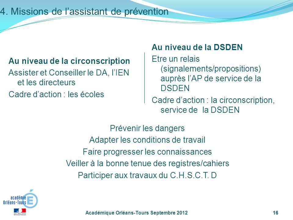 16 Académique Orléans-Tours Septembre 201216 Au niveau de la circonscription Assister et Conseiller le DA, lIEN et les directeurs Cadre daction : les