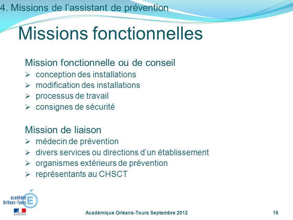 Académique Orléans-Tours Septembre 201219 Mission fonctionnelle ou de conseil conception des installations modification des installations processus de