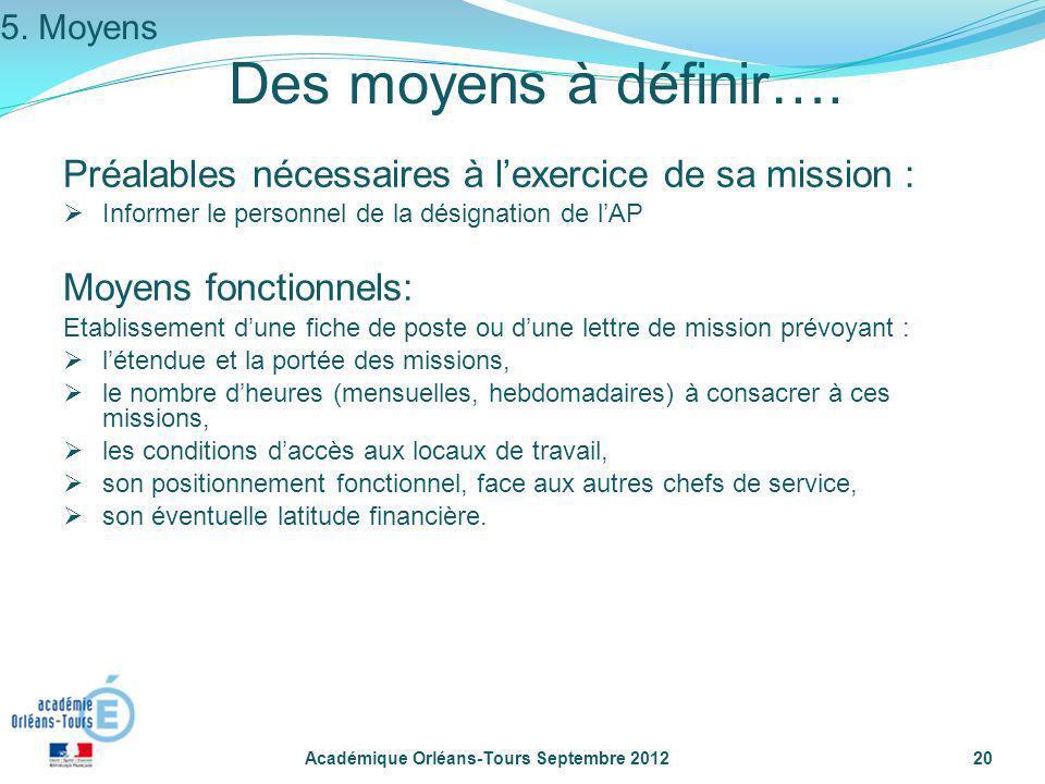 Académique Orléans-Tours Septembre 201220 Des moyens à définir…. Préalables nécessaires à lexercice de sa mission : Informer le personnel de la désign