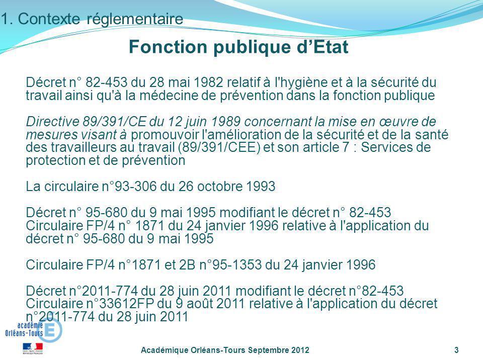 Académique Orléans-Tours Septembre 20123 Décret n° 82-453 du 28 mai 1982 relatif à l'hygiène et à la sécurité du travail ainsi qu'à la médecine de pré