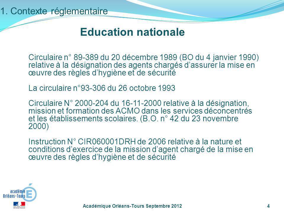 Académique Orléans-Tours Septembre 20124 Circulaire n° 89-389 du 20 décembre 1989 (BO du 4 janvier 1990) relative à la désignation des agents chargés