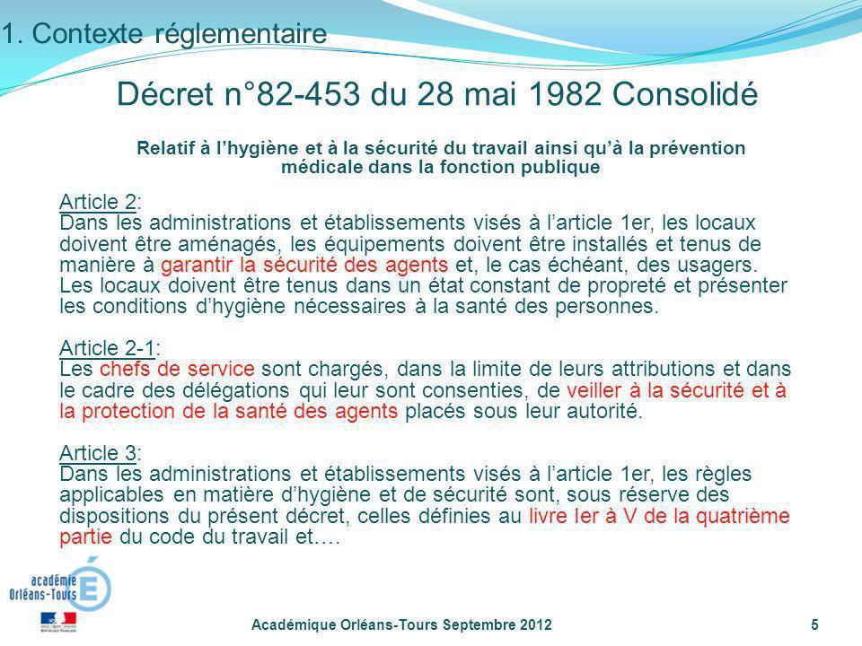 Académique Orléans-Tours Septembre 20125 Relatif à lhygiène et à la sécurité du travail ainsi quà la prévention médicale dans la fonction publique Art