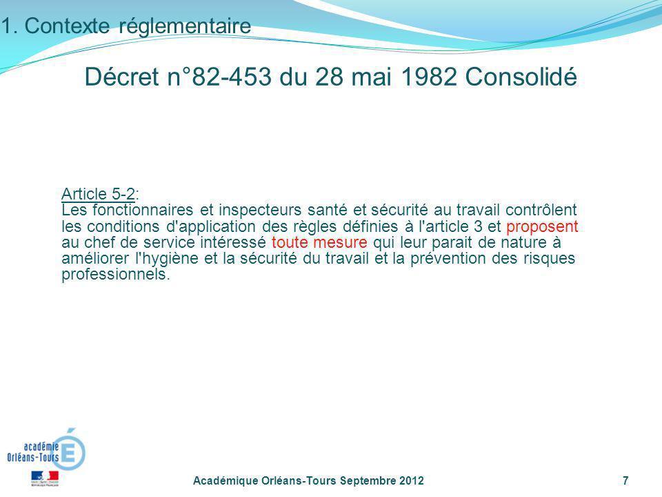 Académique Orléans-Tours Septembre 20127 Article 5-2: Les fonctionnaires et inspecteurs santé et sécurité au travail contrôlent les conditions d'appli