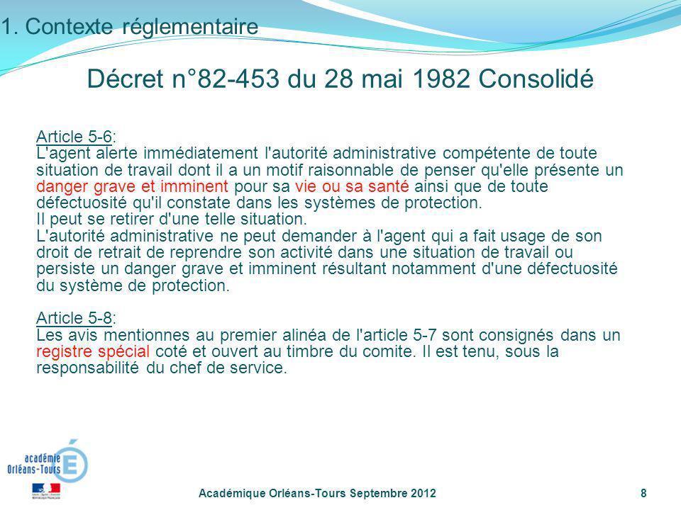 Académique Orléans-Tours Septembre 20128 Article 5-6: L'agent alerte immédiatement l'autorité administrative compétente de toute situation de travail