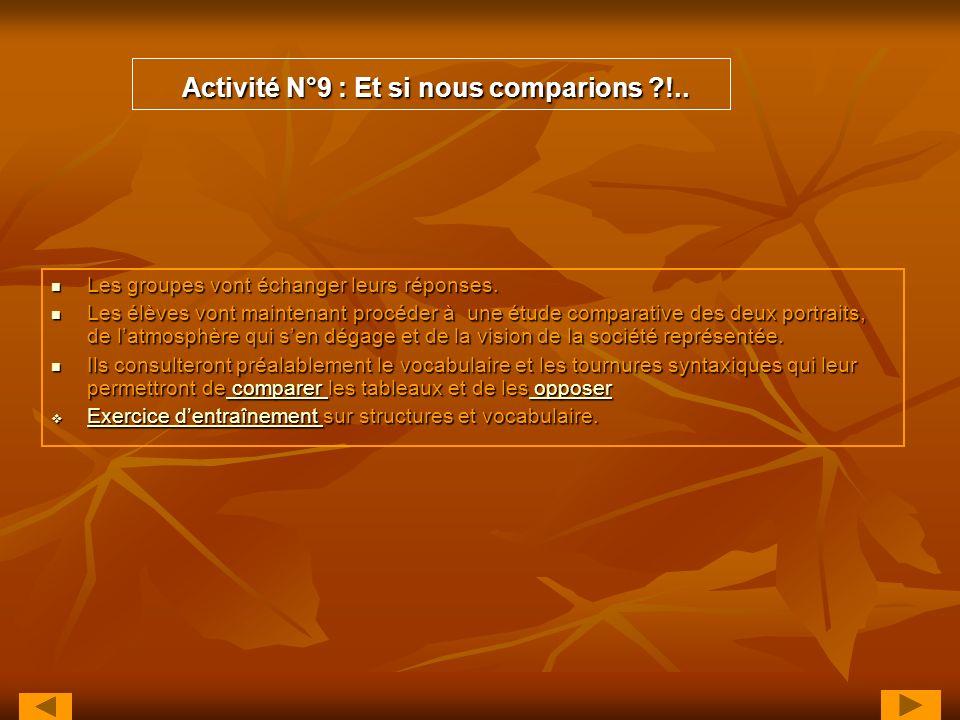 Activité N°9 : Et si nous comparions ?!.. Activité N°9 : Et si nous comparions ?!.. Les groupes vont échanger leurs réponses. Les groupes vont échange