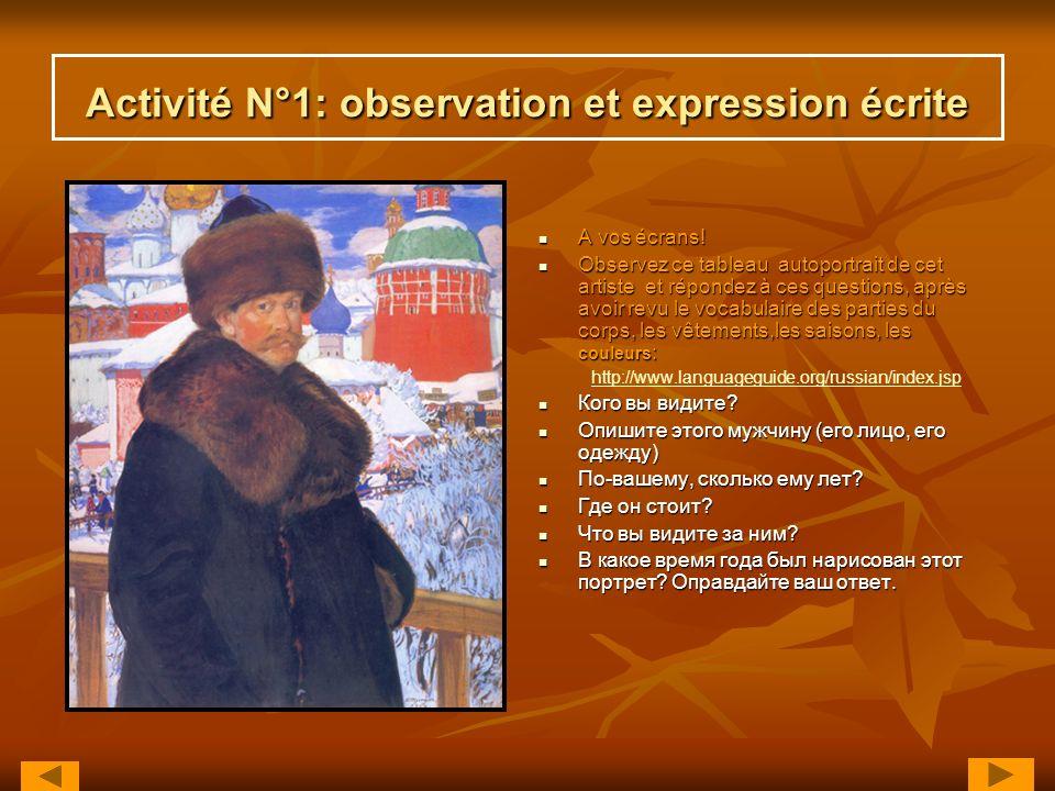Activité N°1: observation et expression écrite A vos écrans! A vos écrans! Observez ce tableau autoportrait de cet artiste et répondez à ces questions
