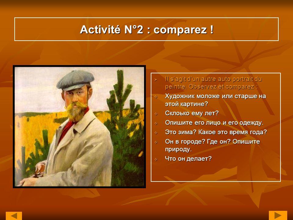 Activité N°2 : comparez ! Il sagit dun autre auto portrait du peintre. Observez et comparez : Il sagit dun autre auto portrait du peintre. Observez et