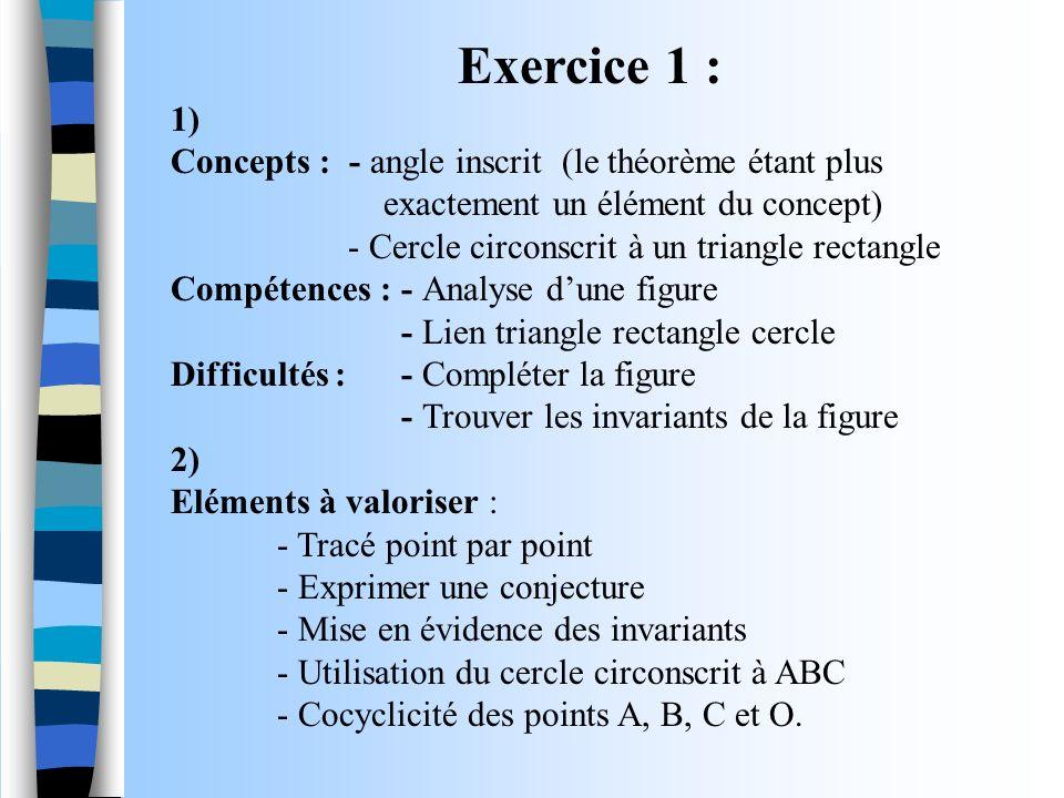 Exercice 1 : 1) Concepts : - angle inscrit (le théorème étant plus exactement un élément du concept) - Cercle circonscrit à un triangle rectangle Comp