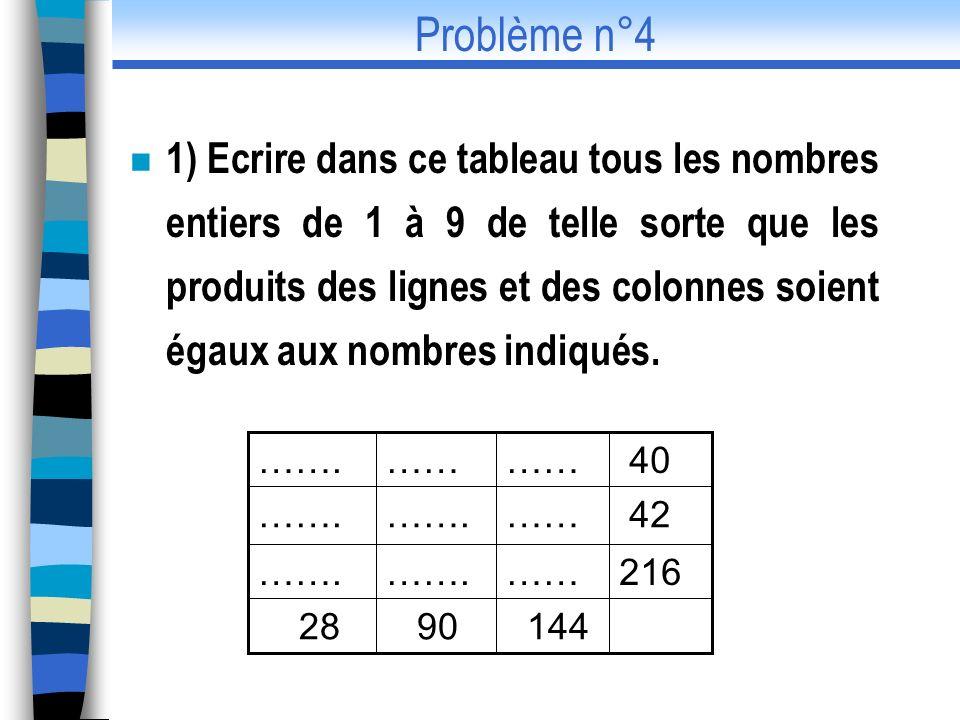 n 1) Ecrire dans ce tableau tous les nombres entiers de 1 à 9 de telle sorte que les produits des lignes et des colonnes soient égaux aux nombres indi