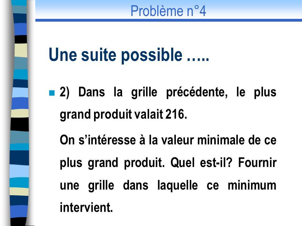 Une suite possible ….. n 2) Dans la grille précédente, le plus grand produit valait 216. On sintéresse à la valeur minimale de ce plus grand produit.