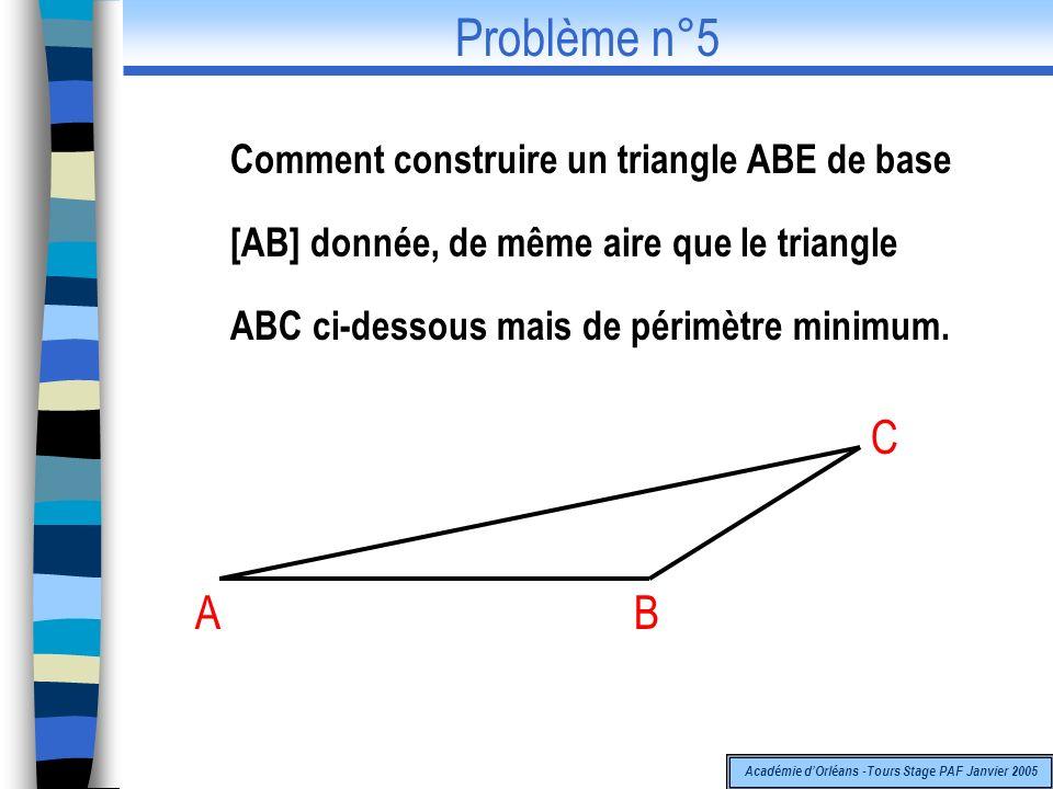 Comment construire un triangle ABE de base [AB] donnée, de même aire que le triangle ABC ci-dessous mais de périmètre minimum. A C B Problème n°5 Acad