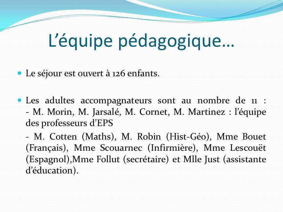 Léquipe pédagogique… Le séjour est ouvert à 126 enfants. Les adultes accompagnateurs sont au nombre de 11 : - M. Morin, M. Jarsalé, M. Cornet, M. Mart