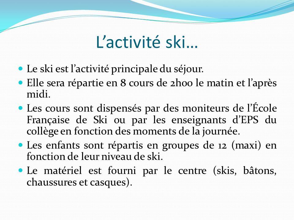 Lactivité ski… Le ski est lactivité principale du séjour. Elle sera répartie en 8 cours de 2h00 le matin et laprès midi. Les cours sont dispensés par