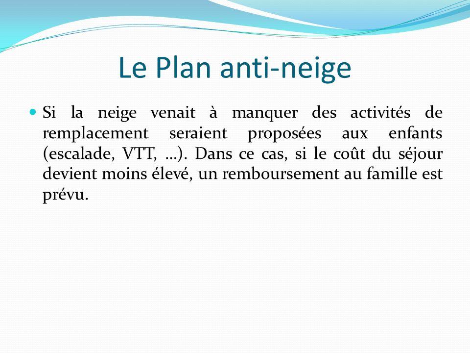 Le Plan anti-neige Si la neige venait à manquer des activités de remplacement seraient proposées aux enfants (escalade, VTT, …). Dans ce cas, si le co