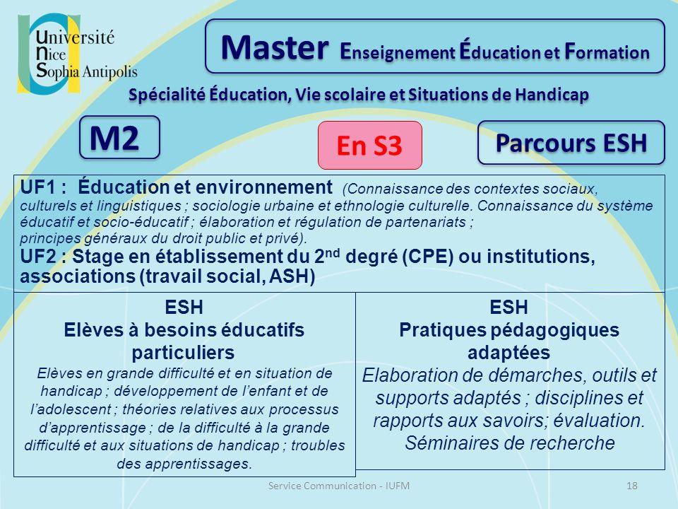 Master E nseignement É ducation et F ormation Spécialité Éducation, Vie scolaire et Situations de Handicap M2 En S3 UF1 : Éducation et environnement (