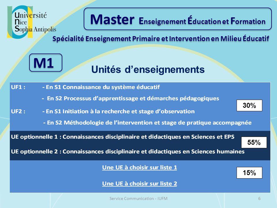 30% 55% 15% Unités denseignements Master E nseignement É ducation et F ormation Spécialité Enseignement Primaire et Intervention en Milieu Éducatif M1 6Service Communication - IUFM