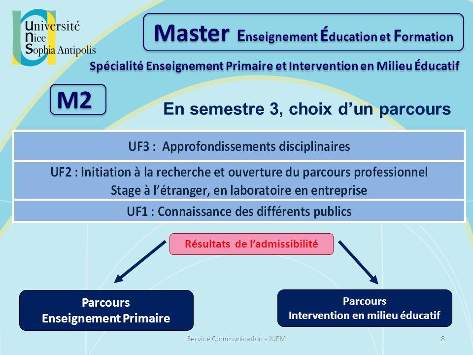 En semestre 3, choix dun parcours Master E nseignement É ducation et F ormation Spécialité Enseignement Primaire et Intervention en Milieu Éducatif M2