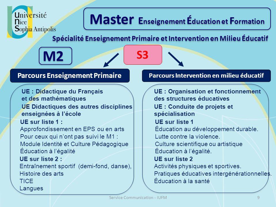 Master E nseignement É ducation et F ormation Spécialité Enseignement Primaire et Intervention en Milieu Éducatif M2 S3 Parcours Enseignement Primaire