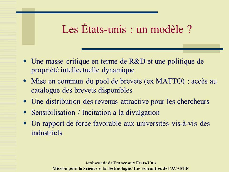 Ambassade de France aux Etats-Unis Mission pour la Science et la Technologie / Les rencontres de lAVAMIP Les États-unis : un modèle .