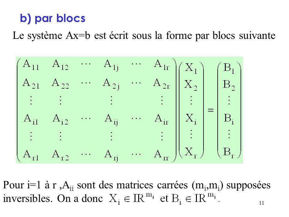 11 b) par blocs Le système Ax=b est écrit sous la forme par blocs suivante Pour i=1 à r,A ii sont des matrices carrées (m i,m i ) supposées inversible