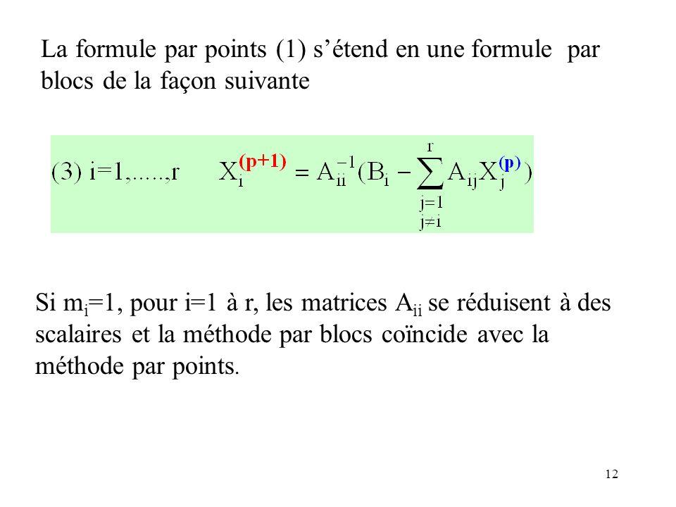 12 La formule par points (1) sétend en une formule par blocs de la façon suivante Si m i =1, pour i=1 à r, les matrices A ii se réduisent à des scalai
