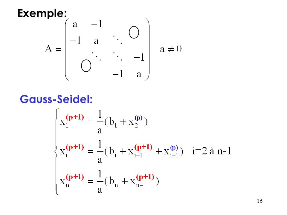 16 Exemple: Gauss-Seidel:
