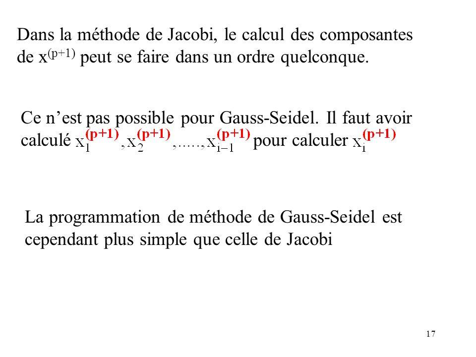 17 Dans la méthode de Jacobi, le calcul des composantes de x (p+1) peut se faire dans un ordre quelconque. Ce nest pas possible pour Gauss-Seidel. Il