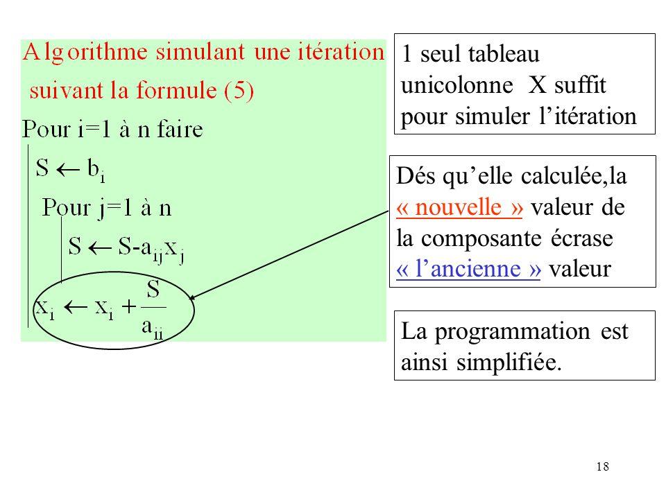 18 1 seul tableau unicolonne X suffit pour simuler litération Dés quelle calculée,la « nouvelle » valeur de la composante écrase « lancienne » valeur