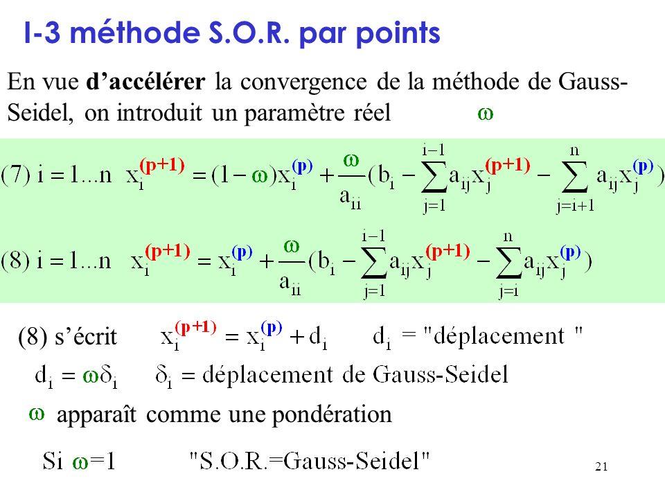 21 I-3 méthode S.O.R. par points En vue daccélérer la convergence de la méthode de Gauss- Seidel, on introduit un paramètre réel (8) sécrit apparaît c