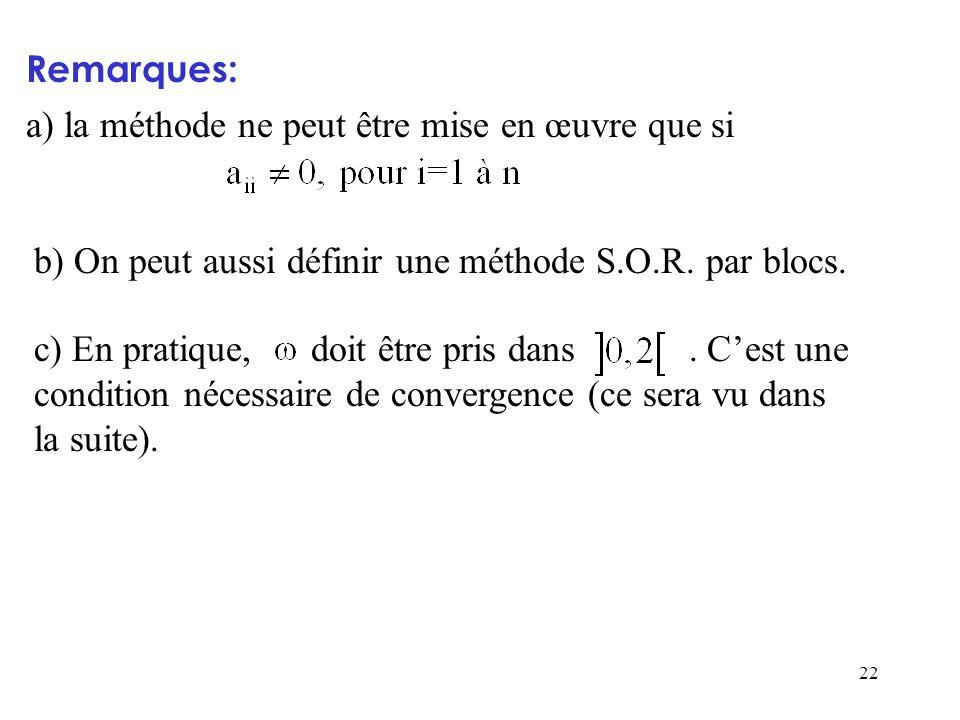 22 Remarques: a) la méthode ne peut être mise en œuvre que si b) On peut aussi définir une méthode S.O.R. par blocs. c) En pratique, doit être pris da