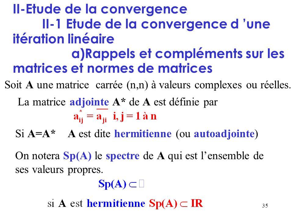 35 II-Etude de la convergence II-1 Etude de la convergence d une itération linéaire a)Rappels et compléments sur les matrices et normes de matrices So