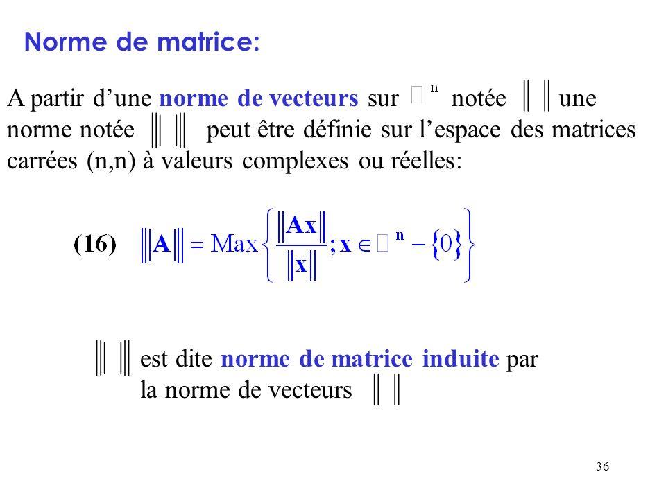 36 Norme de matrice: A partir dune norme de vecteurs sur notée une norme notée peut être définie sur lespace des matrices carrées (n,n) à valeurs comp