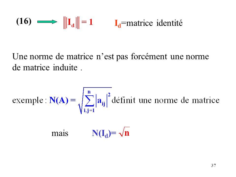37 Une norme de matrice nest pas forcément une norme de matrice induite. mais N(I d )= (16) I d =matrice identité