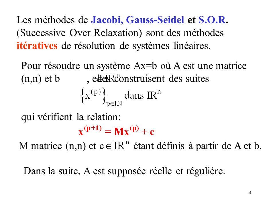 4 Les méthodes de Jacobi, Gauss-Seidel et S.O.R. (Successive Over Relaxation) sont des méthodes itératives de résolution de systèmes linéaires. Pour r