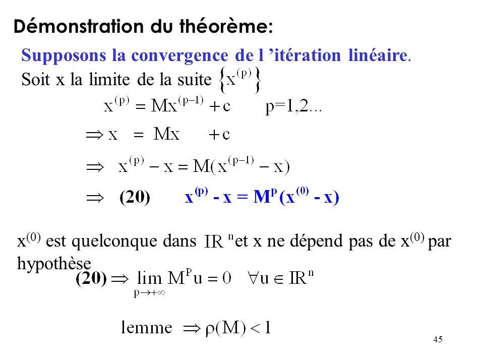 45 Démonstration du théorème: Supposons la convergence de l itération linéaire. Soit x la limite de la suite x (0) est quelconque dans et x ne dépend